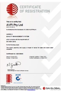 AVFI's Quality Management System ISO 9001:2015 Certificate